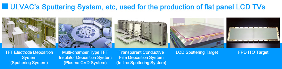 ULVAC Sputtering System, etc. used for the production of flat panel LCD TVs